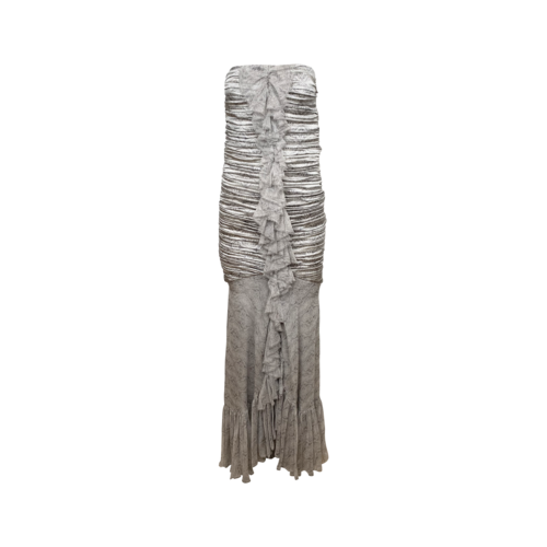 Thomas Wylde Grey Front Ruched Strapless Lace Gown