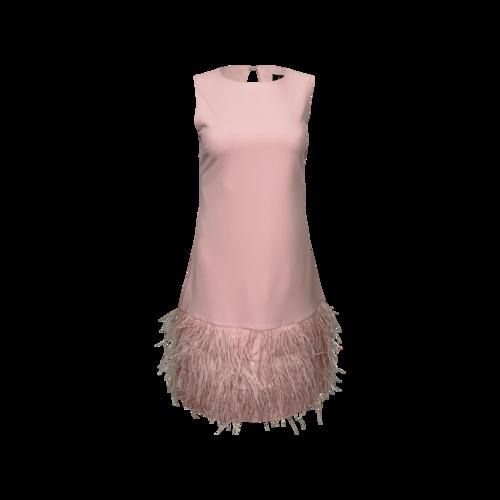 Sam Edelman Blush Pink Feather Hem Shift Dress