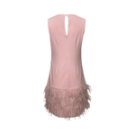 Blush Pink Feather Hem Shift Dress