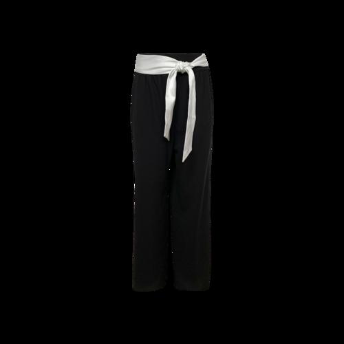 Alice + Olivia Black Wide Leg Trousers w/ White Satin Belt