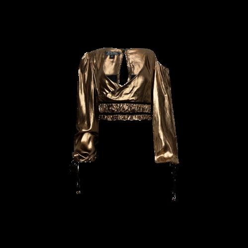 "Bohn Jsell Metallic Bronze ""Prima D. Exomis"" Crop Top"