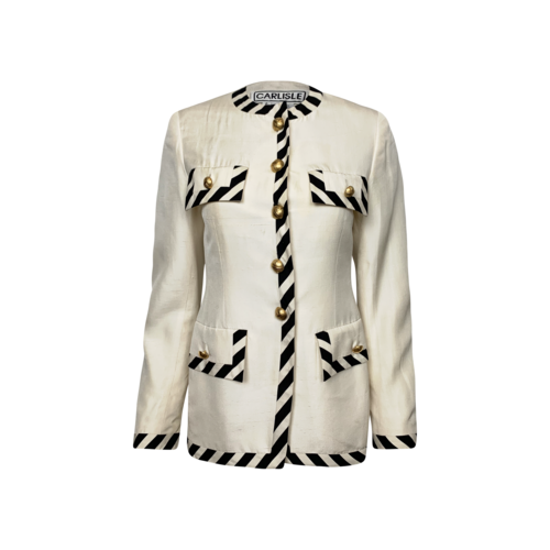 Carlisle Collection White Blazer w/ Black and Gold Accents