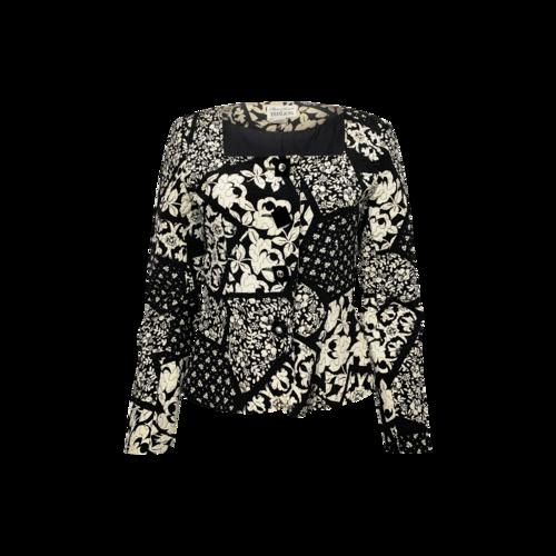 Teri Jon Black Floral Quilted Jacket