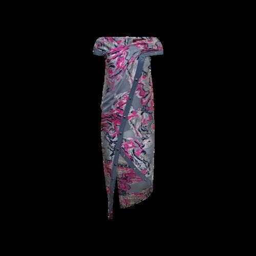 "Sies Marjan Grey Multi ""Tess"" Scribble Snap Midi Dress"