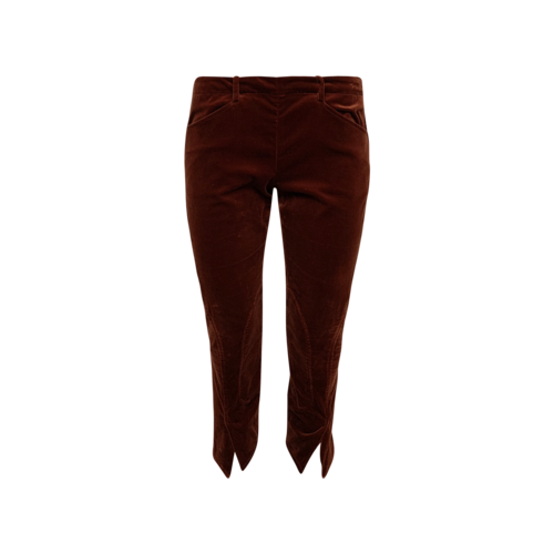 The Row Red Velvet Cropped Pants