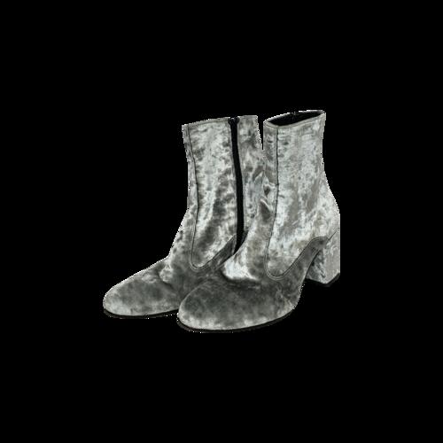 Barneys Silver Velvet Booties