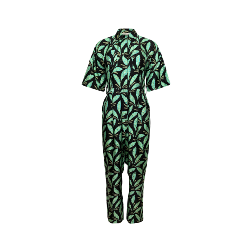 Diane von Furstenberg Green Leaf Print Jumpsuit