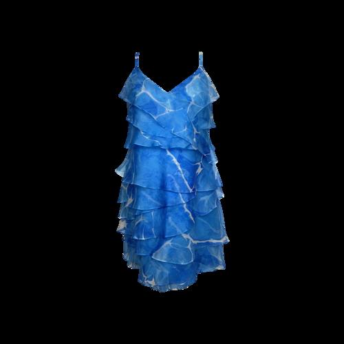 Ralph Lauren Blue Marble Print Tiered Dress