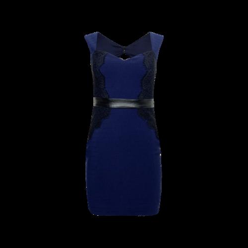 Guess Navy Blue Body-Con Dress w/ Black Lace Panels