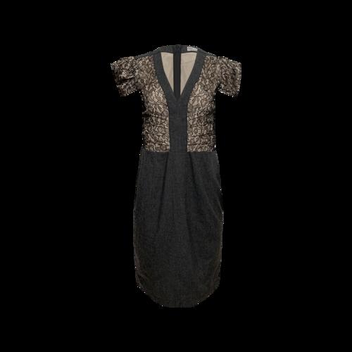 Valentino Black Crepe Dress w/ Lace Bodice