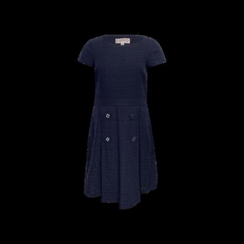Nanette Lepore Dark Navy Blue Front Pleat Dress