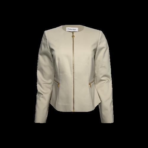 Calvin Klein Beige Collarless Peplum Jacket