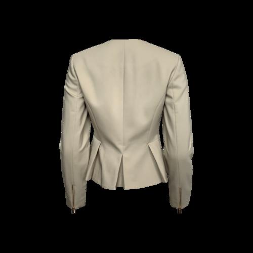 Beige Collarless Peplum Jacket