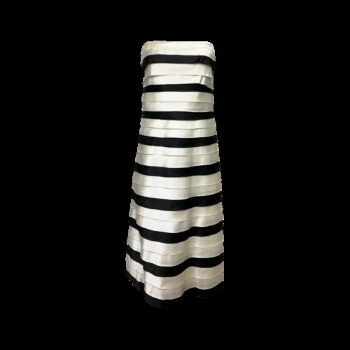 BCBGMAXAZRIA Strapless Tiered Stripes Dress