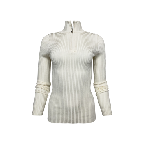 & Other Stories White Ribbed Half Zip Sweater