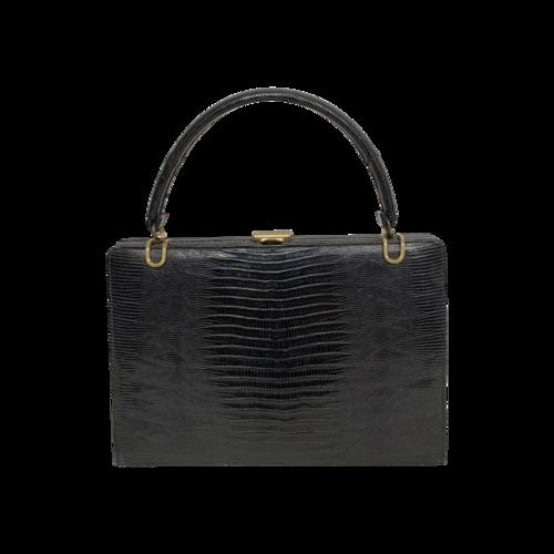 Vintage Black Vintage Bellestone Crocodile Leather Purse