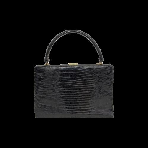 Black Vintage Bellestone Crocodile Leather Purse