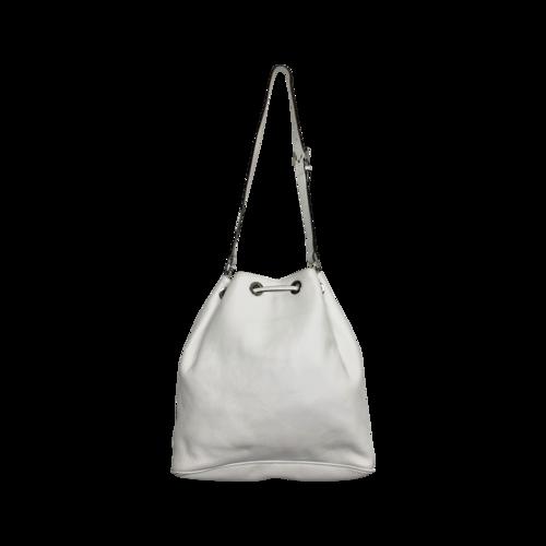 """White """"Jules"""" Drawstring Bucket Bag"""