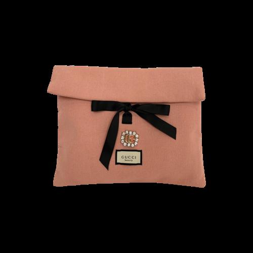 Gucci Pink Linen VIP Beauty Clutch