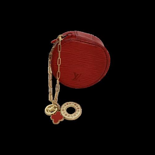 "Louis Vuitton Red ""Écrin Bijoux"" Mini Round Bracelet Clutch"