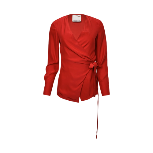 C/MEO COLLECTIVE Red Wrap Top