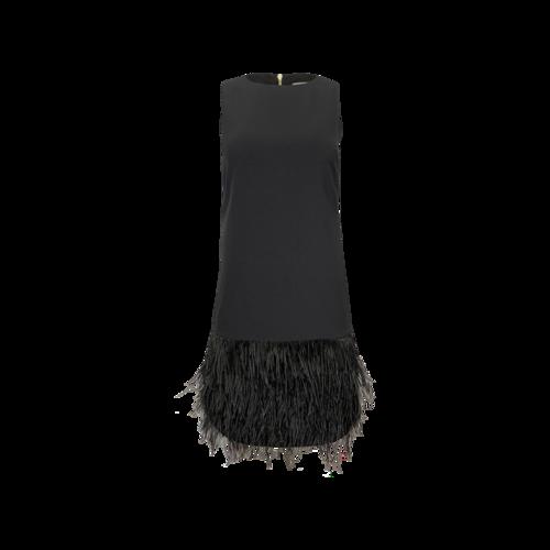 """Vintage Black Cremieux """"Krista"""" Feather Trim Dress"""
