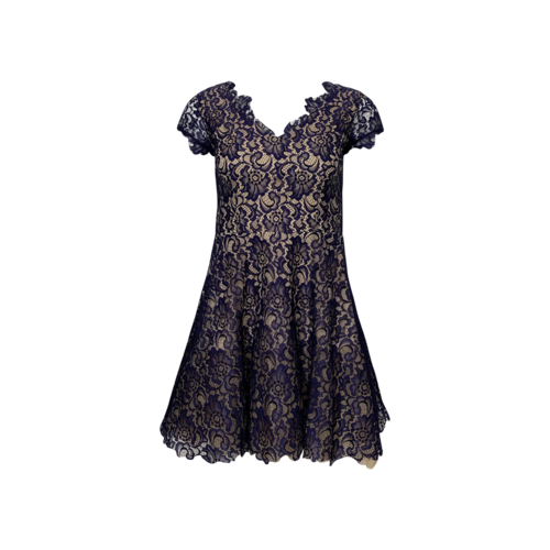 Vintage Nhabhanh Navy Blue Lace Overlay Dress