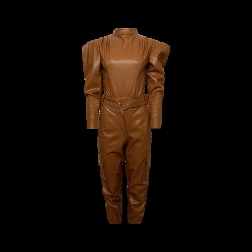 Culpos X INC Brown Faux Leather 2-Piece Bodysuit Top and Pants