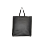 """Black Faux Leather """"Superstellahereos"""" Tote Bag"""