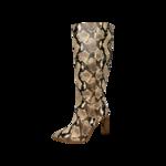 Snakeskin Print Knee High Boots