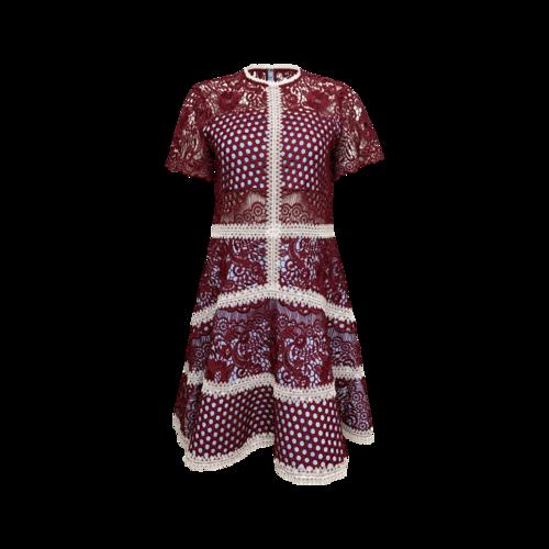 "Alexis Red Burgundy ""Rustikan"" Crochet Dress"