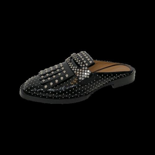 Black Studded Slip-On Leather Mules
