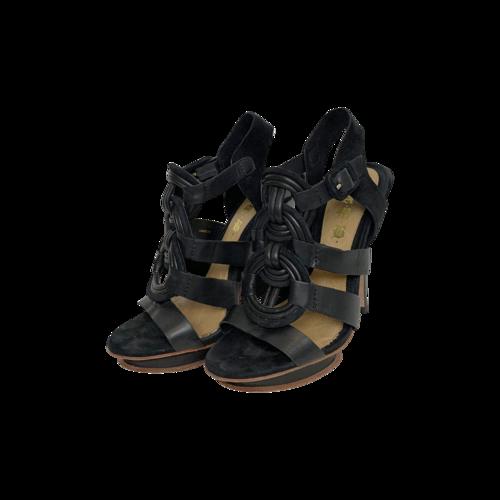 L.A.M.B. Black Interlock Ankle Strap Heels