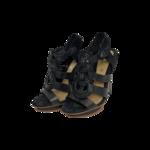 Black Interlock Ankle Strap Heels
