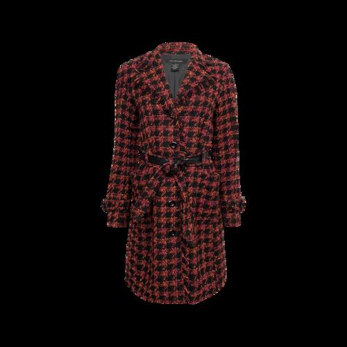 Calvin Klein Red Houndstooth Pattern Coat