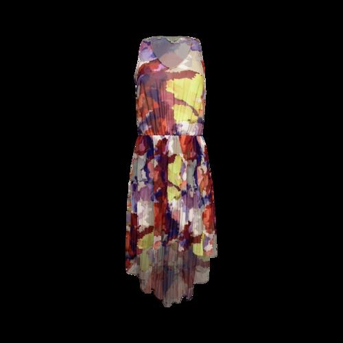 Guess Multi Color Pleated Hi-Lo Dress