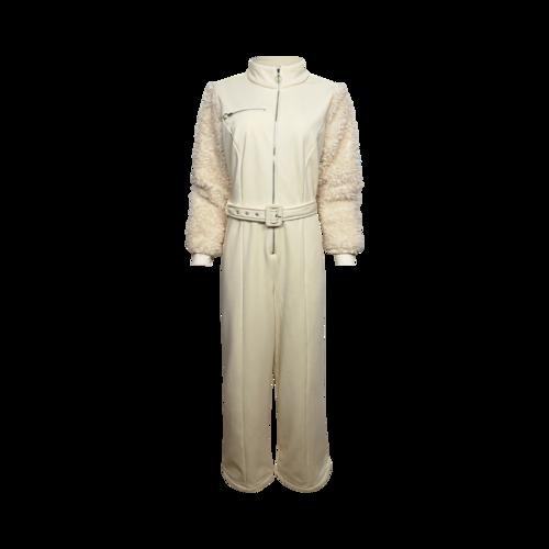 Eloquii Cream Faux Fur Sleeve Jumpsuit