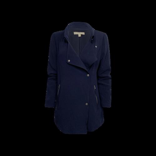 Joan Vass Navy Blue Asymmetrical Crepe Jacket