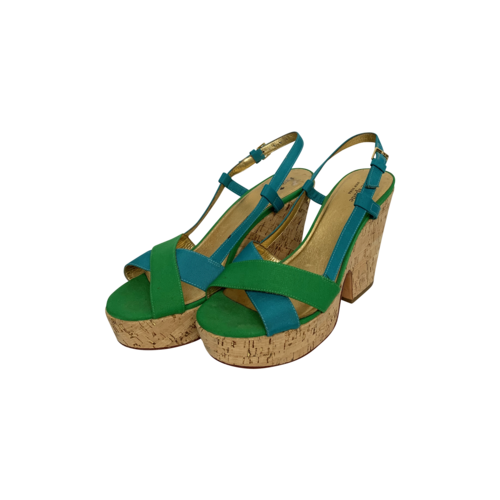 """Kate Spade Green Blue """"Penny"""" Wedge Sandals"""