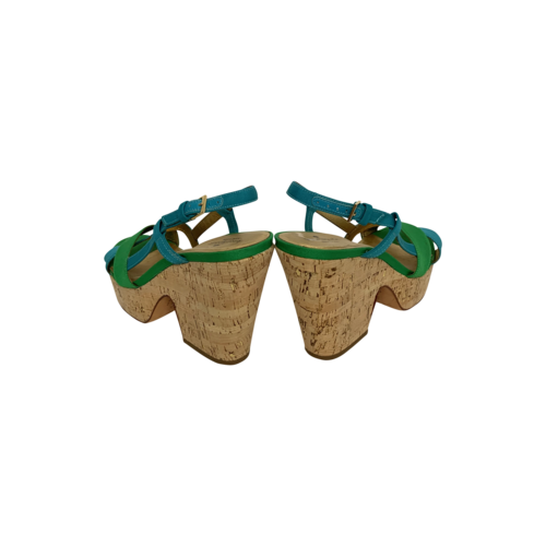 """Green Blue """"Penny"""" Wedge Sandals"""