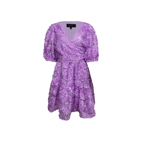 Eloquii Lavender Sheer Mini Dress w/ 3-D Flowers