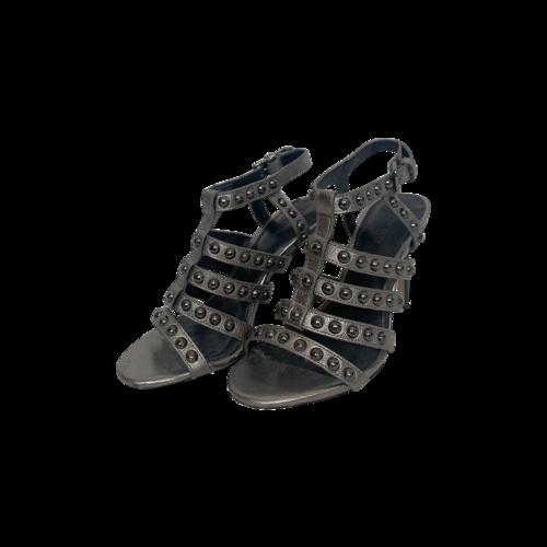 Coach Metallic Silver Studded Gladiator Heels