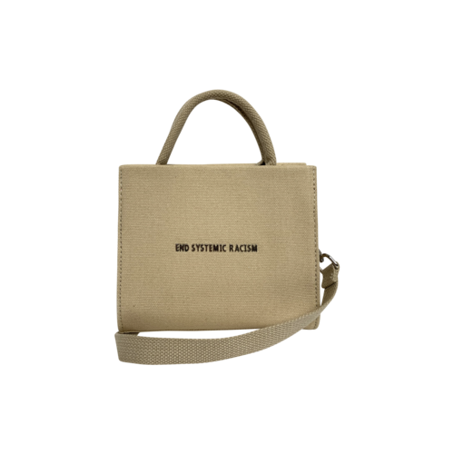 "Beige Canvas ""ESR"" Tote Bag"
