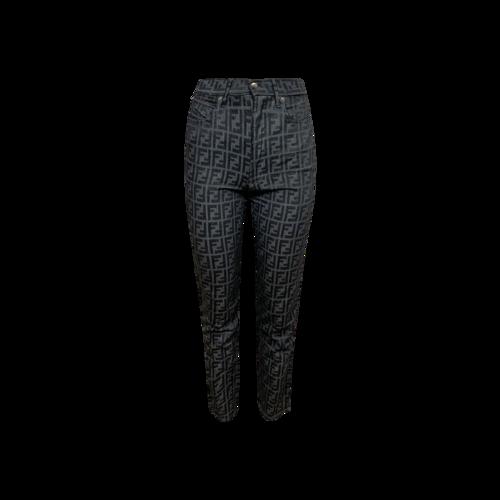 Fendi Blue Logo Zucca FF Tapered Jeans
