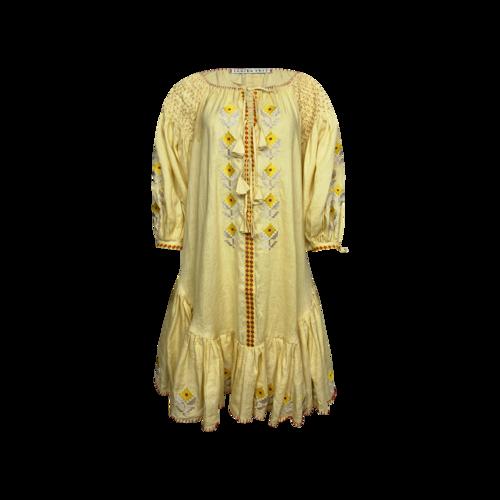 Innika Choo Yellow Smocked Embroidered Midi Dress