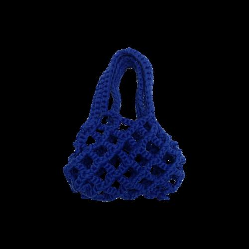 """The Frankie Shop Cobalt Blue """"Lunet"""" Crochet Net Mini Bag"""