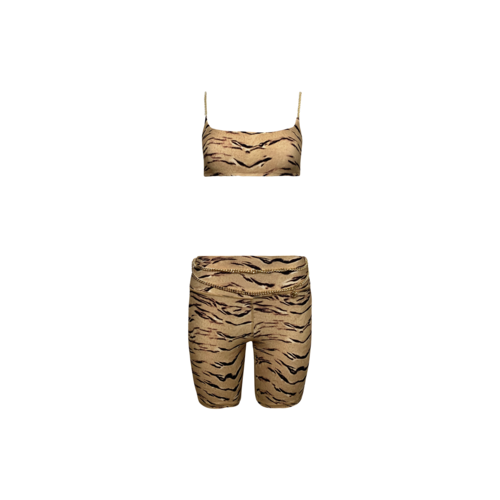 We Wore What Tiger Print 2-Piece Chain Cami Bra Top and Chain Bike Shorts Set