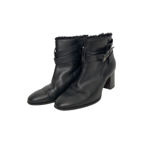 Burberry Black Leather Shearling Ankle Boots