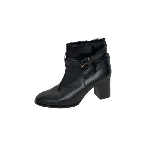 Black Leather Shearling Ankle Boots