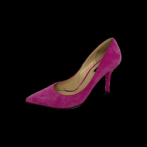 Pink Suede Pointed Heels